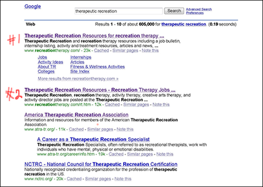 therapeutic recreation search results at Google